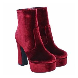 Jeffrey Campbell Wine Velvet De-Facto Ankle Boots